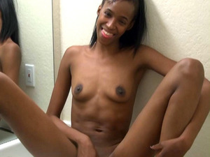 Black gf Stephine fingering pussy in the bathroom