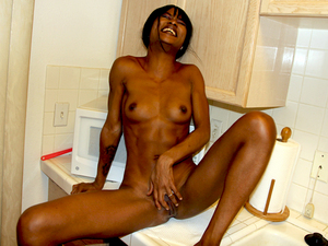 Pretty black gf Trina poked in the kitchen